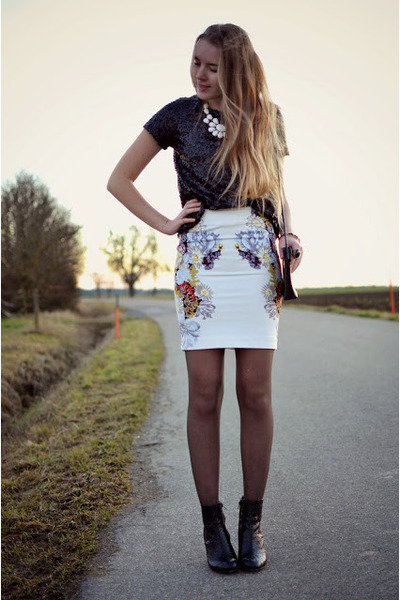 printed H&M skirt - sequins glitter Deichmann boots - sequins H&M shirt