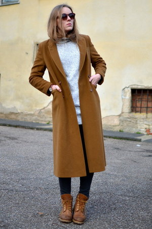 Timberland boots - camel maxi vintage coat