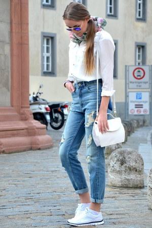 white Lidl shirt - denim New Yorker jeans - white vintage bag