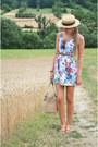 Floral-sfera-dress-vintage-hat-france-souvenir-bag