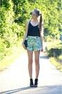 Pimkie-shirt-vintage-bag-floral-pimkie-shorts