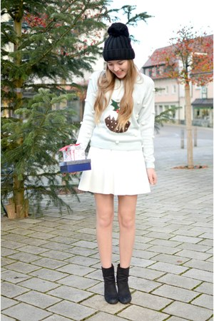 new look sweater - white Pimkie skirt - watch black oozoo accessories