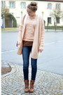 Brown-deichmann-boots-pink-opus-sweater-vintage-bag-pink-opus-cardigan