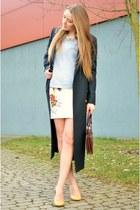 maxi Esprit coat - lightblue reserved sweater - red vintage bag - H&M skirt
