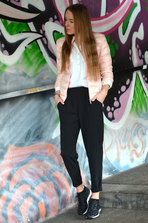 pink SOliver jacket - glitter uno8uno sneakers - black H&M pants