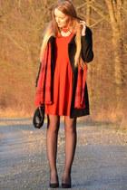 red Hallhuber dress - H&M necklace