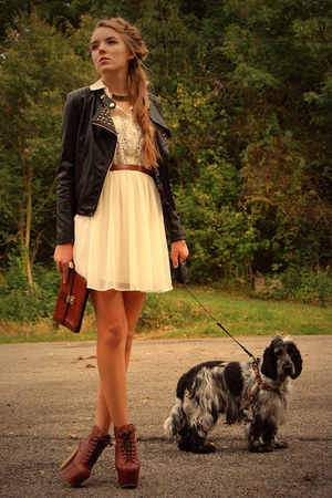 studded no name jacket - litas Jeffrey Campbell shoes - lace c&amp;a dress