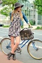 denim vintage jacket - H&M boots - floral TK Maxx dress - comma hat