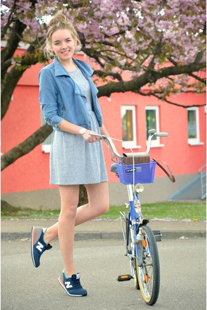 vintage bag - vintage bag - grey new look dress - denim H&M jacket
