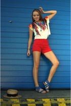 feather print Qed London shirt - high waisted DIY pioneer shorts