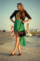 vintage shirt - leo slipper Catwalk shoes - black vintage bag