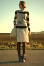 Grey-3suisse-shoes-bird-esprit-sweater-pleated-cream-primark-skirt