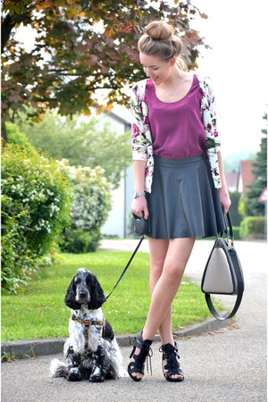 floral Ottode cardigan - H&M bag - leather TK Maxx skirt