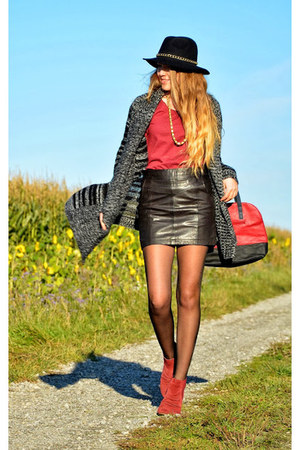 leather Esprit skirt - red Zign shoes - black c&a hat