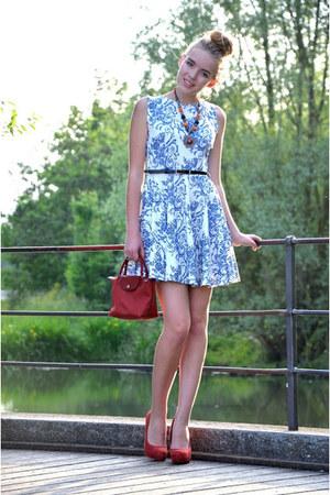 red longchamp bag - floral TK Maxx dress - red Primark heels