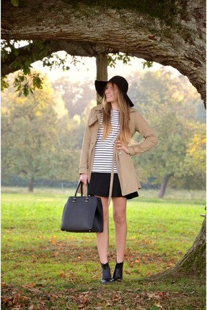 striped Vila dress - black CCC boots - trench coat Vero Moda coat