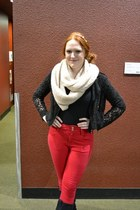 black lace Forever New jacket - ivory snood Topshop scarf - red high waisted Top