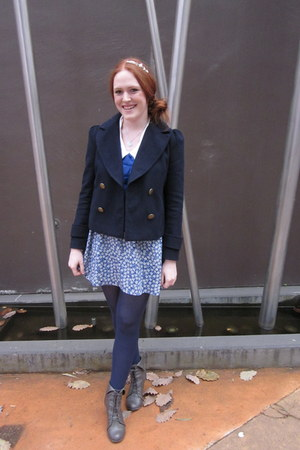 heather gray lace-up asos boots - blue Forever21 dress - navy Forever New jacket