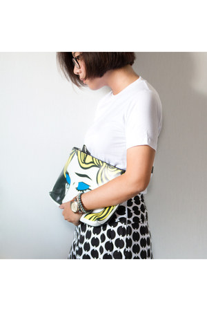 black preppy vintage skirt - yellow clutch rsvd store bag