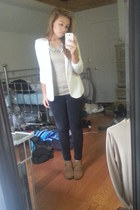 necklace - wedge boots - papaya blazer - Forever 21 shirt