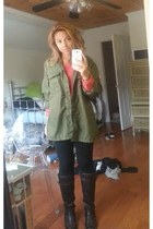 Riding Boots boots - Green Army jacket - black leggings - American Eagle jumper