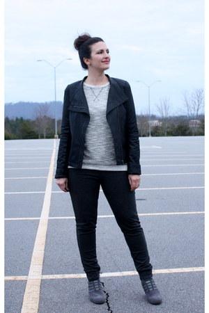 gray Amazon boots - black Forever 21 jacket - dark gray kohls leggings