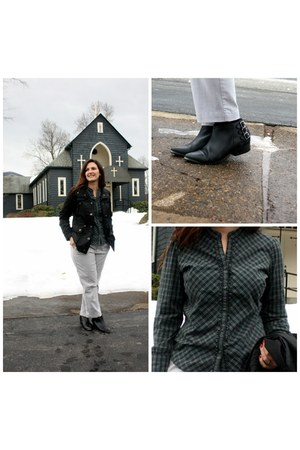black Seychelles boots - silver Gap pants - dark green Eddie Bauer top