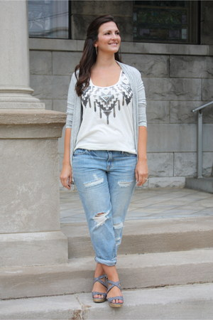 blue Gap jeans - silver Forever 21 cardigan - white Express top