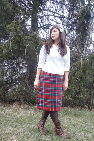 ivory Walmart sweater - ruby red thrifted skirt - black Target tights - brown Km
