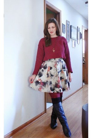black thrifted boots - maroon thrifted sweater - beige NY&CO skirt