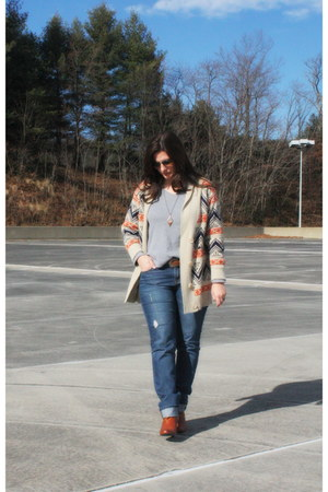 carrot orange Ebay cardigan - blue NY&CO jeans - heather gray thrifted top