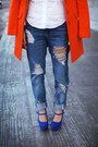 Carrot-orange-orange-romwe-coat-boyfriend-jeans-refuge-jeans