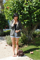 bleached Forever21 shorts - army green green anorak Forever21 jacket