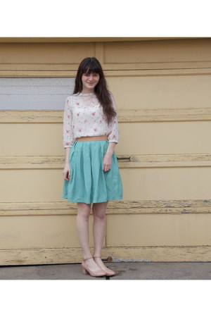 off white Urban Outfitters top - light blue modcloth skirt - nude asos heels