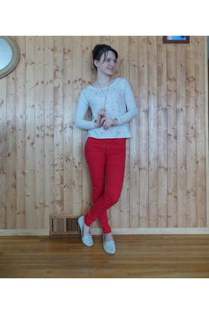 beige jeweled Aerie sweater - ivory Dolce Vita shoes - red H&M pants