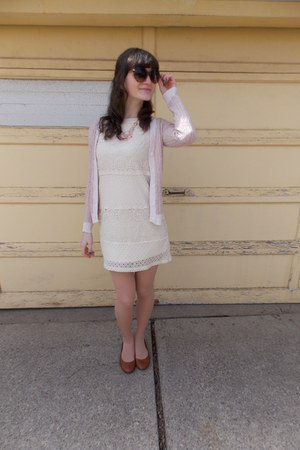 cream shift Target dress - brown Payless shoes - brown Target sunglasses