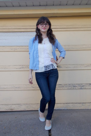 blue chambray Gap top - ivory lace asos top - heather gray suede JCrew shoes