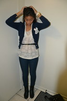 Forever 21 top - boots - Forever 21 jeans - H&M bag - H&M belt - cardigan