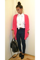 navy H&M pants - black H&M bag - pink cardigan - white Gap blouse - black heels
