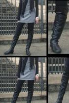 over the knee boots - dress - tights - scarf