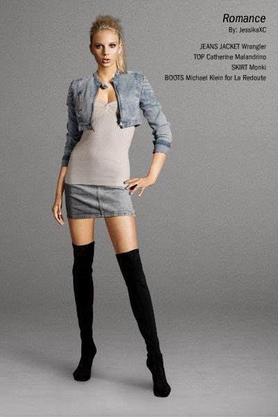 jacket - top - skirt - boots