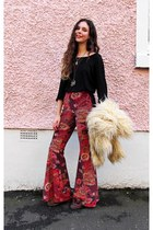 Miracle Eye pants - faux fur vintage coat - black top Great plains top