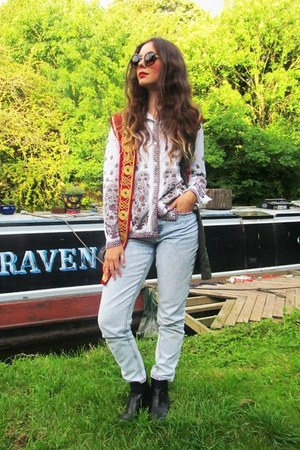 vintage jacket - chelsea new look boots - mom jeans asos jeans