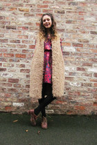 teddy gilet asos cardigan - brown leather vintage from Ebay boots