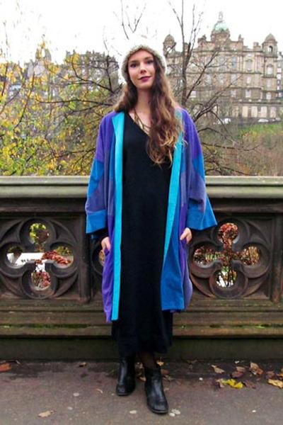 sweater vintage dress - chelsea new look boots - blue suede vintage coat