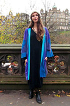 sweater vintage dress - chelsea new look boots - blue suede vintage coat