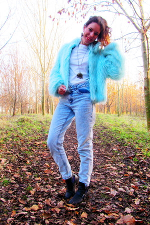light blue blu fur coat car boot sale coat - cut out boots Ebay boots