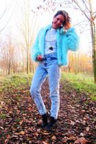 light blue blu fur coat car boot sale coat - cut out boots Ebay boots