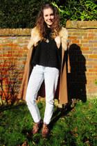 cropped fluffy Zara sweater - vintage boots - fur collar vintage coat