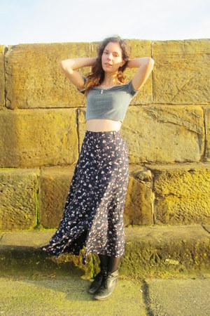 old Topshop boots - maxi vintage skirt - velvet asos top